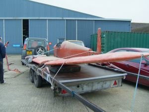 PNZ fuselage and wings loaded up for transport from Headcorn (March 2013)