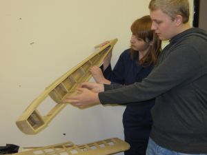 Young Volunteers at Derby Workshop<br />inspecting a model Turbulent - part built. (Feb 2014)