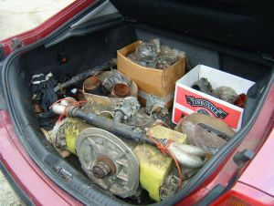 At Headcorn Aerodrome Kent (UK): The car is loaded up with original PNZ 'bits'. (March 2013)